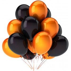 Облако из чёрных и оранжевых шаров (10 шт)