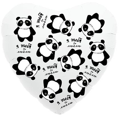 """Фольгированное сердце """"Панда"""" (45см)"""