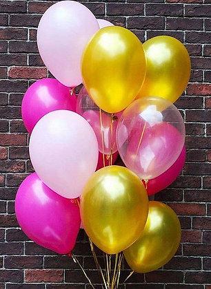 Облако из золотых/прозрачных/белых и розовых шаров