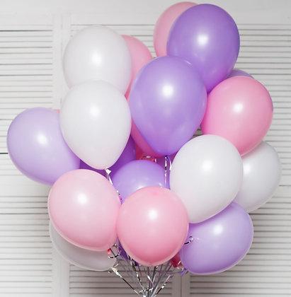 Облако из белых,розовых и лиловых шаров