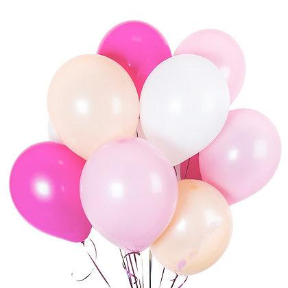 Облако из белых,розовых,тёмн.розовых и телесных шаров (10шт)