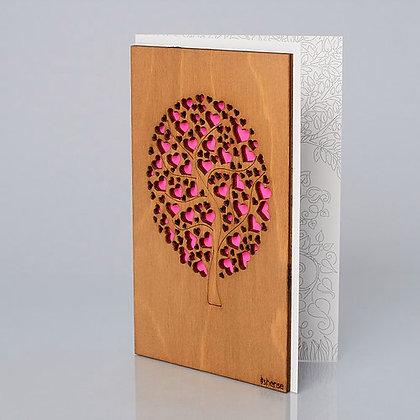 """Деревянная открытка """"Дерево любви"""""""