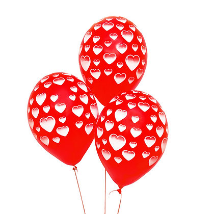 Облако из красных шаров в белое сердце  (10 шт)