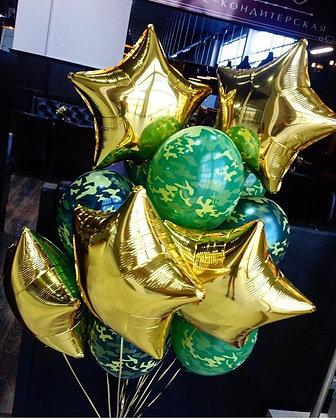 Камуфляжные шары со звездами (25+5)