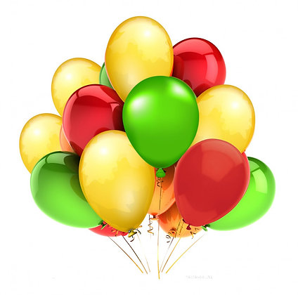 Облако из желтых,зелёных и красных шаров (10 шт)