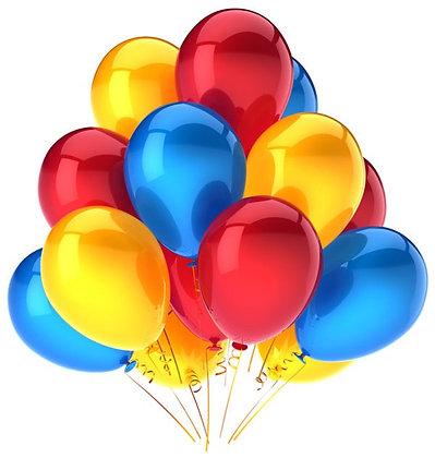 Облако из красных,жёлтых и голубых шаров (10 шт)