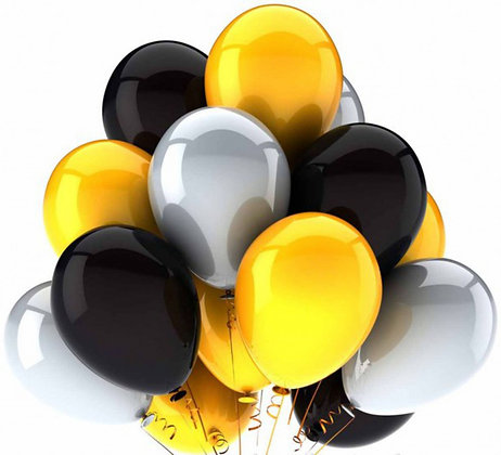 Облако из серебристых,чёрных и жёлтых шаров (10 шт)