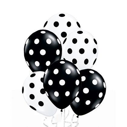Облако черно-белых шаров в горох  (10 шт)