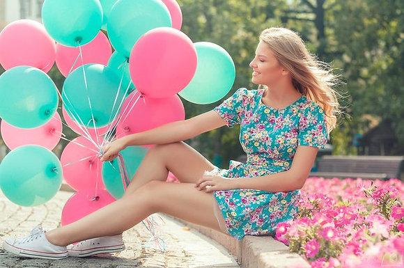 Облако из бирюзовых и розовых шаров (10шт)