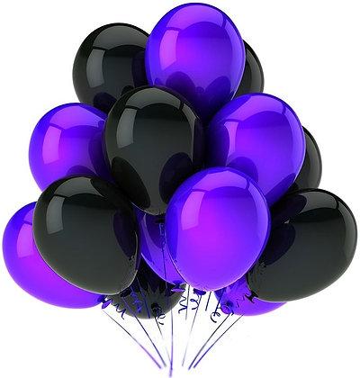 Облако из фиолетовых и чёрных шаров (10 шт)