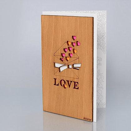 """Деревянная открытка """"Письмо с любовью"""""""