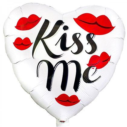 "Фольгированное сердце ""Kiss me"" (45см)"