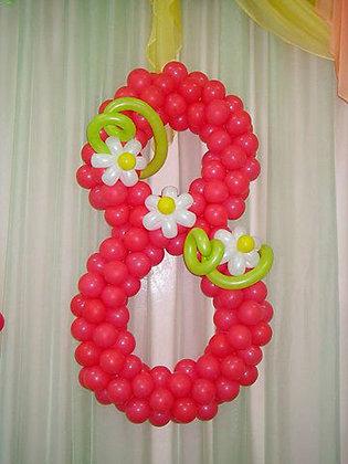 "Цифра 8 ""Красная"" с цветами (120см)"