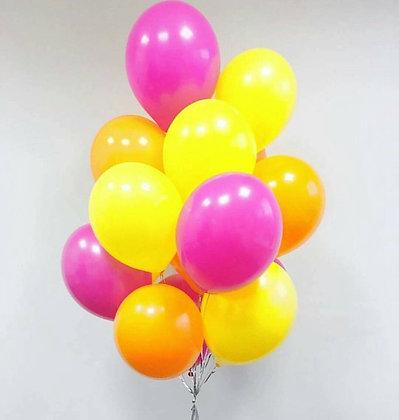 Облако из желтых,оранжевых и розовых шаров (10 шт)