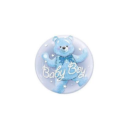 Шар прозрачный медвежонок (синий) (60см)