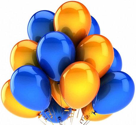 Облако из синих и жёлтых шаров (10 шт)