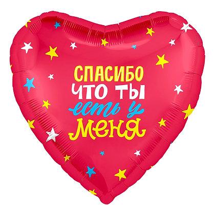 """Фольгированное сердце """"Спасибо, что ты есть у меня!"""" (45см)"""