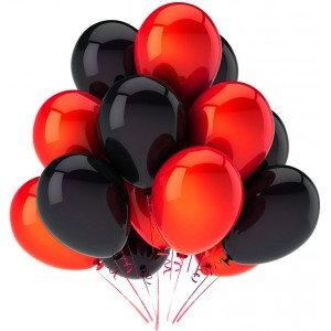 Облако из красных и чёрных шаров (10 шт)