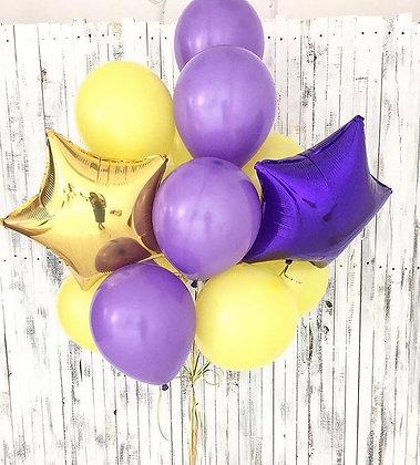 Облако из фиолетовых,желтых шаров с 2-мя звездами