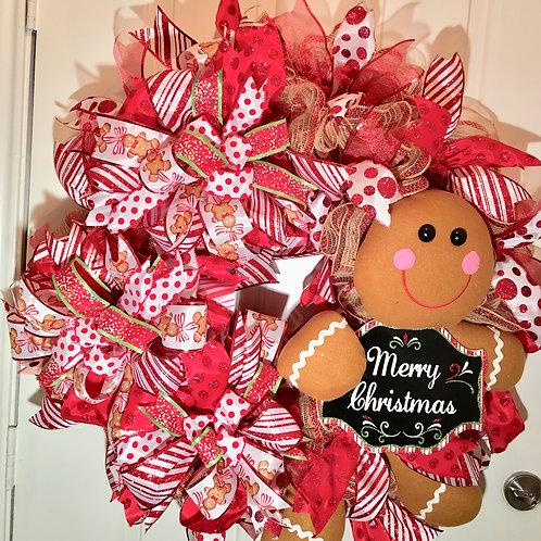 Gingerbread Mesh Door Wreath
