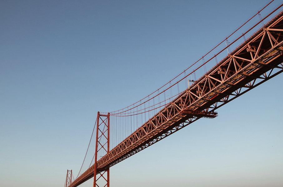 suspension bridge with blue sky