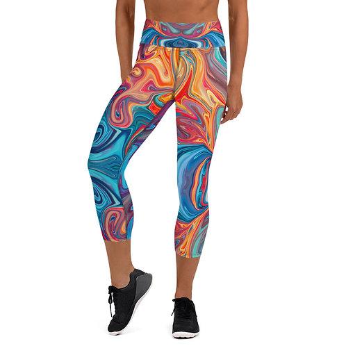 Colorful Marble Yoga Capri Leggings