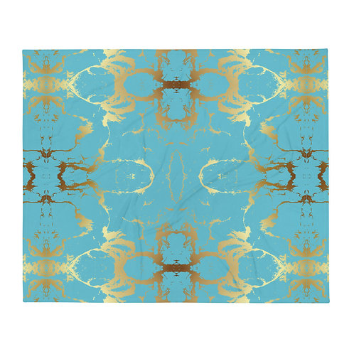 Gold and Teal Throw Blanket
