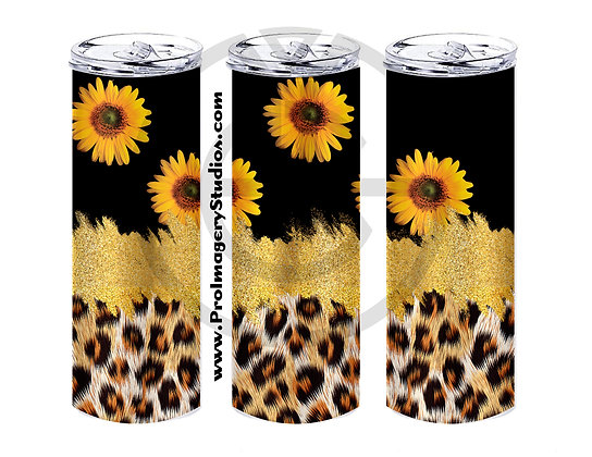 20oz Straight Tumbler Leopard Glitter Sunflowers 02