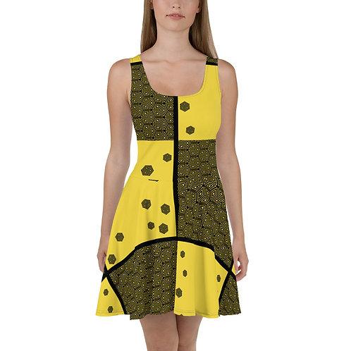#Yellow Cubes Skater Dress