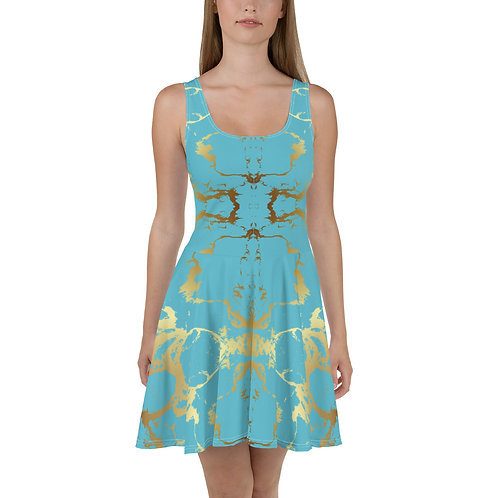 Gold and Teal Skater Dress