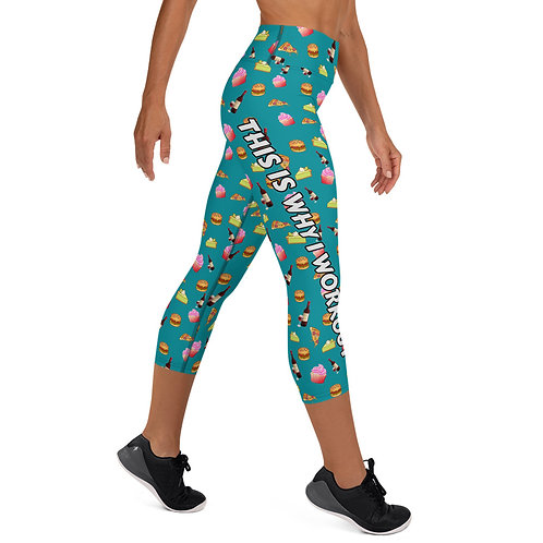 #WhyIWorout Yoga Capri Leggings - Teal