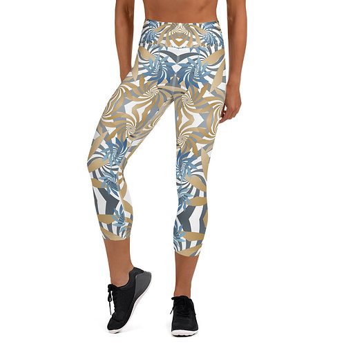 #Gold&Teal Spiral High Waist Capri Leggings