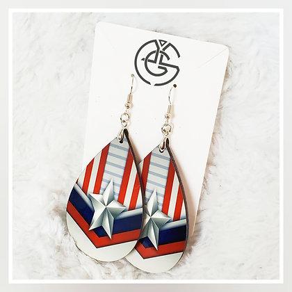 Red White & Blue Ribbon Earrings