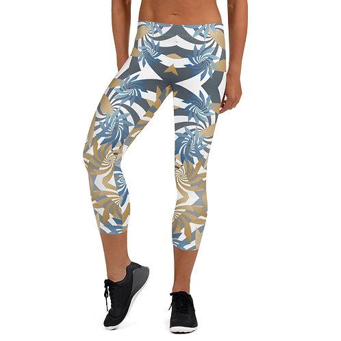 #Gold&Teal Spiral Capri Leggings