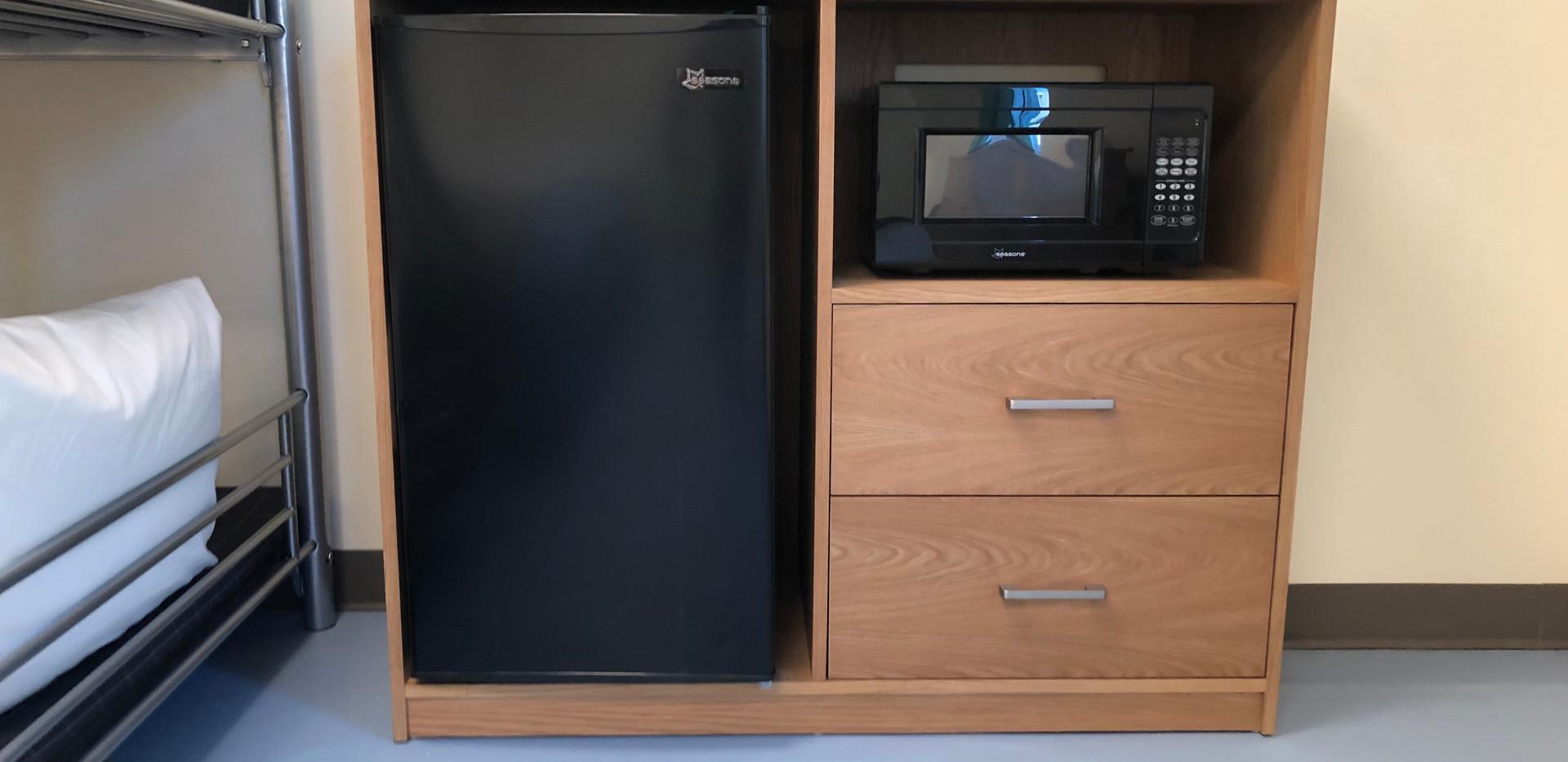 Microwave and Mini-Fridge