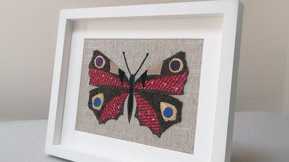 Peacock Butterfly-Applique & Fabric Collage Frame
