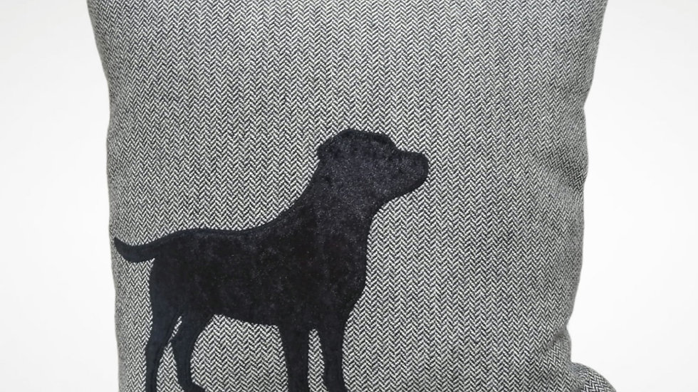 Velvet Black Labrador on Tweed