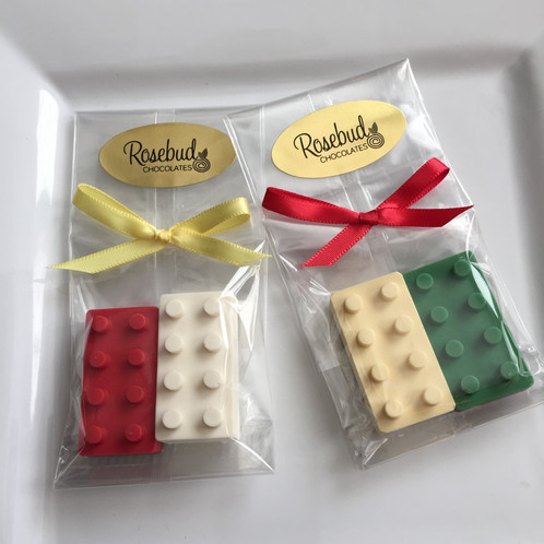 One Dozen 12 Chocolate Lego Favors Each Favor Contains 1 Milk And White Brick In Assorted Colors Measures 2 X