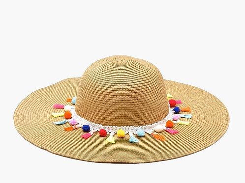 Summer Siesta Sun Hat with Pom Poms & Tassels