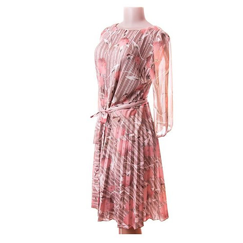 60's Comfy Micropleated Flower Power Dress with Tie Waist and Long Sleeves