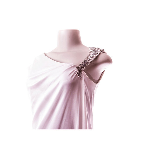 Vintage Grecian Goddess Wedding Gown with Intricately Beaded Shoulder strap