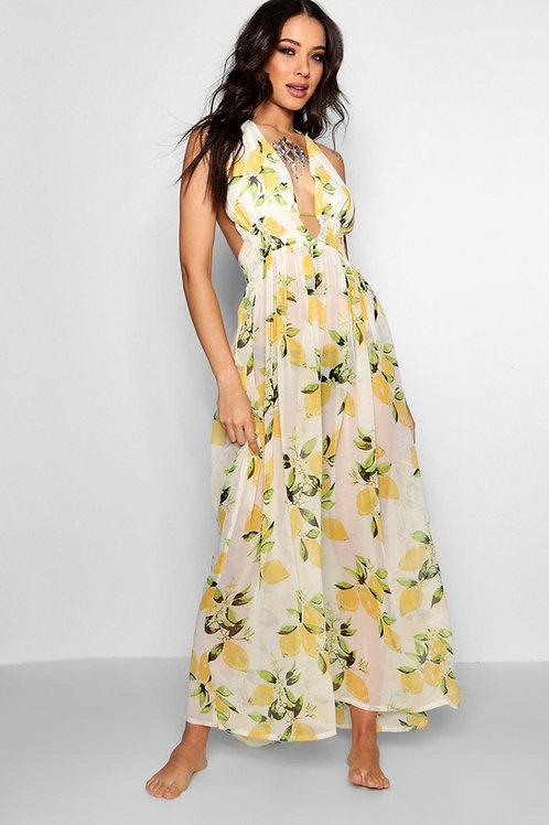 Lemon Meringue Open Back Beach Dress