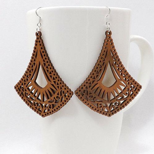 Wooden Lace Infinity Drop Earrings