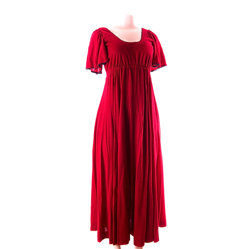70's Firetruck Red Maxi Dress - Soft Red Day Gown with Rare Butterfly sleeves