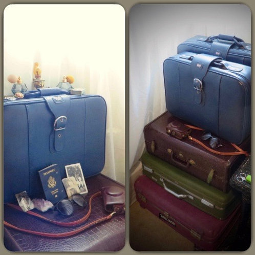 60's Blue American Tourister Medium Nesting Suitcase Stackable Retro Luggage