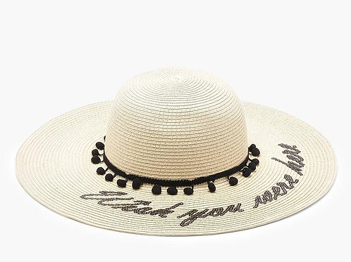 Wish You Were Here Photoshoot Straw Summer Hat with Black Trim