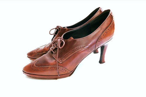 Vintage Italian Leather Lace Up Oxford Pumps