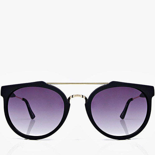 Retro Sunnies - Crossbar Black Frame Aviator Sunglasses