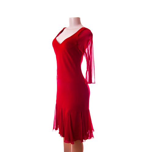 Vintage Lipstick Red Salsa Dress with Sensual Phantom Sleeves