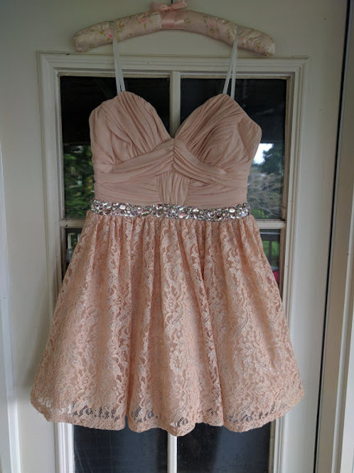 Pretty in Pink Rhinestone Waist Prom or Homecoming Dress